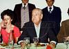 Recepcion en el restaurante Enrique al ex presidente Hector J. Campora, autorizado por la junta militar a dejar la embajada de Mexico donde estaba refugiado, a su llegada a Mexico D.F. Mexico, Marzo 15, 1980. (Austral Foto/Renzo Gostoli)  ARCHIVO ORIGINAL EN MAL ESTADO