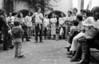 Acto en iglesia de ciudadanos argentinos exilados, Mexico DF, Mexico, Noviembre 11, 1979. En la foto: Susana Miguens, izq, Ignacio Velez, centro hablando, Manuel Suarez, der, (Austral Foto/Renzo Gostoli)
