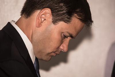 Sen. Marco Rubio (R-FL) waits to speak at Thursday June 13, 2013 Luncehoen