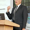 Ernest Zupancic with the Federal Depatrment of Housing and Development (HUD) address' the crowd at the final plan presentation for the Wachusett Smart Growth Corridor Analysis on Friday at CAN-AM Machinery in Fitchburg. SENTINEL & ENTERPRISE/JOHN LOVE
