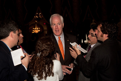 """Texas Republican Sen. John Cornyn talks to reporters following the address of Felipe Calderón Hinojosa, President of Mexico in Washington DC. on May 20, 2010.  Cornyn said it was inappropriate for Calderon to lecture Americans on state and local law. He defended the Arizona law and added: """"moreover, the Second Amendment is not a subject open for diplomatic negotiation, with Mexico or any other nation.""""  Calderon, the first foreign national leader to address Congress this year, said he strongly disagrees with the Arizona law that requires police to question people about their immigration status if there's reason to suspect they are in the country illegally. He said there are more than 7,000 gun shops along the border where almost anyone can purchase weapons.  (Photo by Jeff Malet)"""