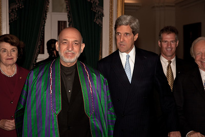 Afghan President Hamid Karzai meets with John Kerry and other Senators at the Capitol in Washington DC. on May 13, 2010. (Photo by Jeff Malet)