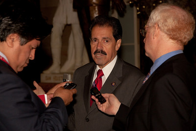 Rep. Jose Serrano (D-NY) talks to reporters in the US Capitol Rotunda following the address of His Excellency Felipe Calderón Hinojosa, President of Mexico in Washington DC. on May 20, 2010. Calderon, the first foreign national leader to address Congress this year, said he strongly disagrees with the Arizona law that requires police to question people about their immigration status if there's reason to suspect they are in the country illegally. (Photo by Jeff Malet)