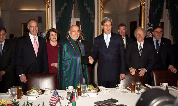 Afghan President Hamid Karzai meets with Senators at the Capitol in Washington DC. on May 13, 2010. (left to riight) Senators Robert Casey (D-PA), Dianne Feinstein (D - CA), Karzai,  John Kerry (D-MA), Scott Brown (R-MA), Joe Lieberman (I-CT) (Photo by Jeff Malet)