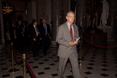 Senator Charles Grassley (R-Iowa)  makes his way through the US Capitol Rotunda following the address of His Excellency Felipe Calderón Hinojosa, President of Mexico in Washington DC. on May 20, 2010. Later that day, Grassley joined 3 other Republican Senators to push through financial reform legislation by a 59-39 margin. (Photo by Jeff Malet)