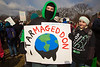 Forward on Climate rally (Feb 17, 2013) : An estimated 40,000 activists gathered on Sunday, Feb 17 in the shadow of the Washington Monument in what has been described as the largest U.S. climate rally ever. The rally preceded a march to the White House to urge President Obama to reject the proposed Keystone XL Pipeline. The event was headlined by Bill McKibben, founder of 350.org; and Michael Brune, the Executive DIrector of the Sierra Club. In addition to denying the pipeline, organizers called for the President to limit greenhouse gas emissions and work for cleaner, renewable energy.  350.org takes its name from the atmospheric concentration of carbon dioxide, in parts per million, which climate scientists and activists say is a safe upper limit for preventing significant climate change. The year 2012 was the hottest year on record. Many scientists believe that the further burning of greenhouse gasses will raise global temperatures further and increase the likelihood of extreme weather events. In his recent State of the Union address, the President seemed to agree, but gave few specifics on how to combat climate change.