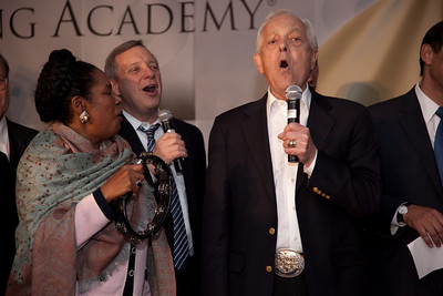 "Sen. Dick Durbin (D-Ill.), Sheila Jackson Lee (D-Tex.), CBS' Bob Schieffer and others sing ""I've Got Friends in Low Places"" in honor of Garth Brooks at the Recording Academy sponsored GRAMMYS on the Hill reception and awards at the Liaison Capitol Hill Hotel in Washington DC on April 14, 2010. GRAMMYs on the Hill is called ""Washington's most interesting mix of music and politics."" The two days of music advocacy connects top music makers with members of Congress in Washington, D.C., in an effort to inform policy makers of the important role the recording arts play in the nation's culture and economy, and to raise the profile of the recording arts during meetings with legislators. (Photo by Jeff Malet)"