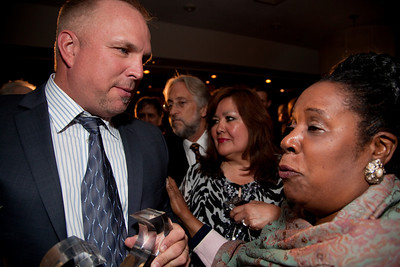 """Solo Artist of the Century Garth Brooks is honored at the Recording Academy sponsored GRAMMYS on the Hill reception and awards at the Liaison Capitol Hill Hotel in Washington DC on April 14, 2010. Here speaking to Congresswoman Sheila Jackson Lee (D-TX). GRAMMYs on the Hill is called """"Washington's most interesting mix of music and politics."""" The two days of music advocacy connects top music makers with members of Congress in Washington, D.C., in an effort to inform policy makers of the important role the recording arts play in the nation's culture and economy, and to raise the profile of the recording arts during meetings with legislators. (Photo by Jeff Malet)"""