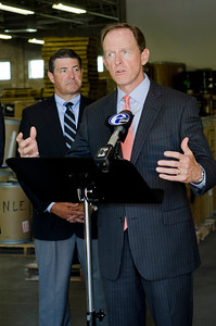Senator Pat Toomey (right) and Congressman Jim Gerlach (left) speak at Litetech Inc. in Norristown about the effect of Medical Device Tax on small businesses.  Rick Kauffman/Times Herald Staff