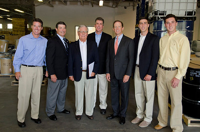 Senator Pat Toomey and Congressman Jim Gerlach pose with the family owners of Litetech Inc. From left: Tom Krug, Congressman Jim Gerlach, Thomas Krug (President), David Krug, Senator Pat Toomey, Kevin Moses and Nick Moses. Rick Kauffman/Times Herald Staff