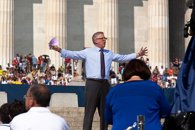 """Glenn Beck addresses the thousands of Tea Party activists and other conservatives gathered near the Lincoln Memorial for Beck's """"Restoring Honor"""" rally in Washington DC on August 28, 2010. The event took place on the 47th anniversary of Martin Luther King's famous speech. (Photo by Jeff Malet)"""
