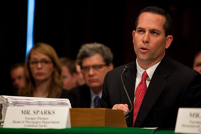Daniel Sparks of Goldman Sachs testifies before the Senate Permanent Subcommittee on Investigations on Capitol Hill in Washington DC on April 27, 2010. (Photo by Jeff Malet)