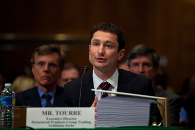 Fabrice Tourre of Goldman Sachs testifies before the Senate Permanent Subcommittee on Investigations on Capitol Hill in Washington DC on April 27, 2010. (Photo by Jeff Malet)
