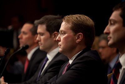 Daniel Sparks, Joshua Birnbaum, Michael Swenson and Fabrice Tourre  of Goldman Sachs testify before the Senate Permanent Subcommittee on Investigations on Capitol Hill in Washington DC on April 27, 2010. (Photo by Jeff Malet)