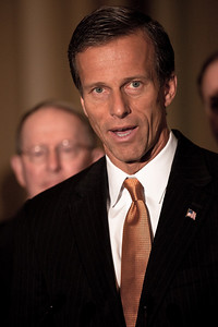 Sen. John Thune (R-SD) meets with reporters on Capitol Hill in Washington DC on April 27, 2010. Republicans voted to filibuster Wall Street reform.  (Photo by Jeff Malet)