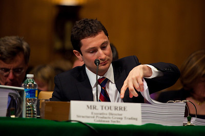 Fabrice Tourre of Goldman Sachs is asked to read through embarrassing emails before the Senate Permanent Subcommittee on Investigations on Capitol Hill in Washington DC on April 27, 2010. (Photo by Jeff Malet)