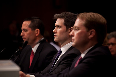 Daniel Sparks, Joshua Birnbaum and Michael Swenson of Goldman Sachs testify before the Senate Permanent Subcommittee on Investigations on Capitol Hill in Washington DC on April 27, 2010. (Photo by Jeff Malet)
