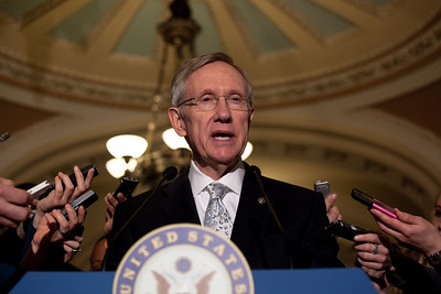 Senate Majority Leader Harry Reid (D-NV) meets with reporters on Capitol Hill in Washington DC on April 27, 2010 to voice his frustration with Republicans who just voted to filibuster Wall Street reform.  (Photo by Jeff Malet)