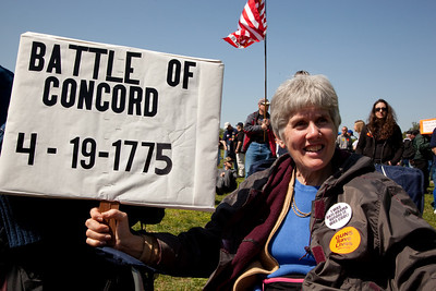 """Gun rights activists gathered near the Washington Monument for the Second Amendment March on April 19, 2010. The rally marked the anniversary of the """"shot heard round the world"""". (Photo by Jeff Malet)"""