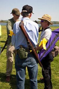"Protestors come armed at the ""Restore the Constitution"" gun rights rally at Gravelly Point Park on the Potomac River in Alexandria, VA. on April 19, 2010. (Photo by Jeff Malet)"