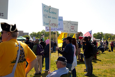 Gun rights activists gathered near the Washington Monument for the Second Amendment March on April 19, 2010. (Photo by Jeff Malet)
