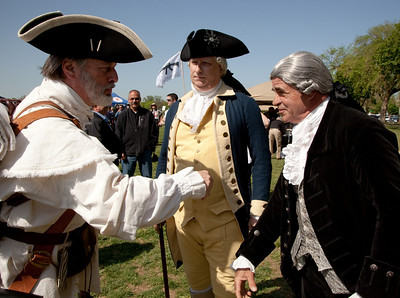 Button Gwinnett, George Washington and Patrick Henry meet as gun rights activists gathered near the Washington Monument for the Second Amendment March on April 19, 2010. (Photo by Jeff Malet)