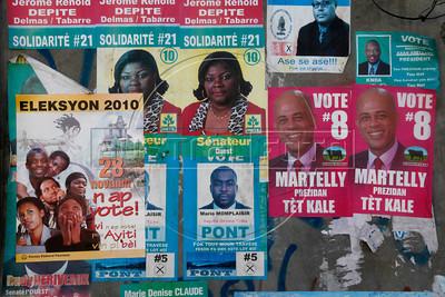 Presidential campaign posters in Port au Prince, Haiti.(Australfoto/Douglas Engle)