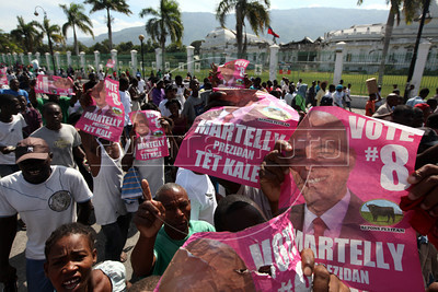 Supporters of Michel Martelly in Port au Prince, Haiti.(Australfoto/Nicolas Garcia)