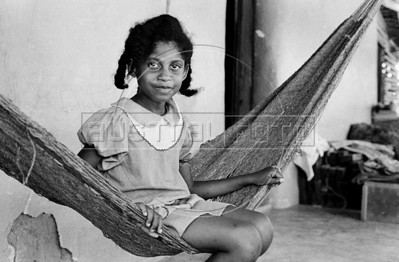 Tania, daughter of Gérard Pierre-Charles, Haitian politician, economist and former leader of the Unified Party of Haitian Communists, during a haitian movie realisation in Oaxaca state, Mexico, February 7, 1982. (Austral Foto/Renzo Gostoli)