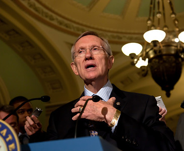 Senator Harry Reid (D-Nev.) speaks to reporters following the Senate Democratic Caucus meeting in the US Capitol building in Washington DC on November 16, 2010. Reid was reinstated as majority leader for a third straight Congress. (Photo by Jeff Malet)