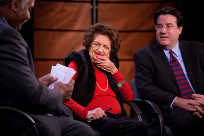 """Veteran White House correspondent Helen Thomas makes an appearance with Congressional Quarterly columnist Craig Crawford at the Newseum in Washington DC on Nov. 1, 2009 to discuss their new book, """"Listen Up, Mr. President: Everything You Always Wanted Your President to Know and Do"""".  Thomas and Crawford turned their experience covering U.S. presidents into a how-to guide on being an effective commander in chief. Currently a Hearst Newspapers columnist, Thomas served for fifty-seven years as a correspondent and, later, White House bureau chief for United Press International (UPI). Thomas has covered every President of the United States since the later years of the Eisenhower administration (Photo by Jeff Malet)"""