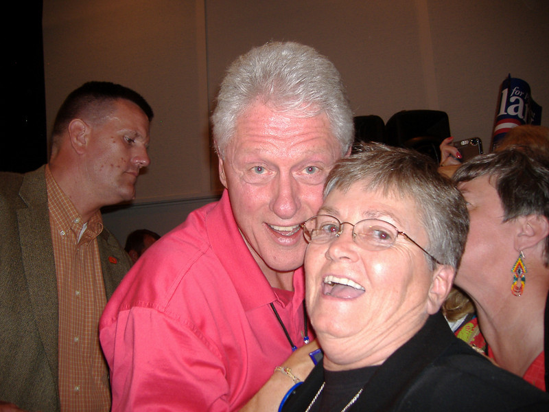 Pres Bill Clinton and Marvel.  Bill truly has charm and was very friendly, shaking my hand, thanking SEIU and then I put my arm around him and the secret service guy was quite upset!