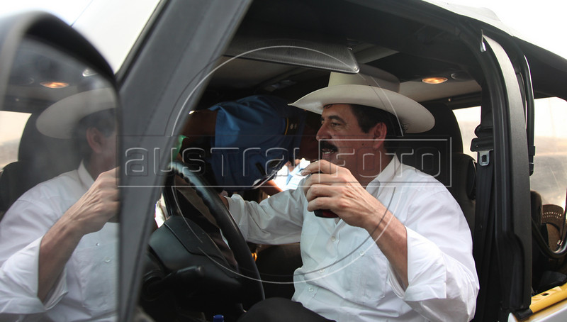 Ousted Honduran President Manuel Zelaya drives his jeep in Ocotal, Nicaragua, 23 Km (14 miles) from the Honduras border, Sunday, July 26, 2009. (Australfoto Nicolas Garcia)