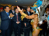 Venezuela's President Hugo Chavez, left, watch to samba dancers of Vila Isabel samba school; Vila Isabel wins the 2006 Rio Carnival, sponsored by the Venezuela's oil company PDVSA. Hugo Chavez participates at the Mercosul Summit in Rio de Janeiro, Brazil, January 18, 2007. (Austral Foto/Renzo Gostoli)