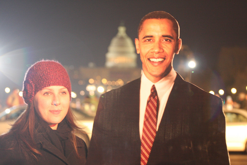 MSNBC had a cardboard Barack and they were taking people's pix with it. It was really sweet and there was a long line.