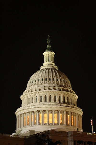 The Capitol at night.