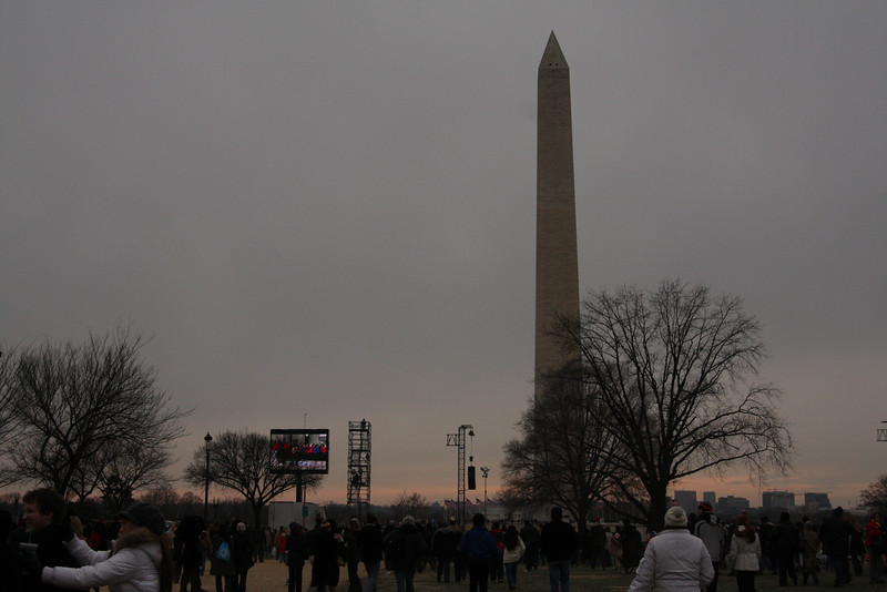 Washington Monument & one of the big screens they were projecting the concert on.