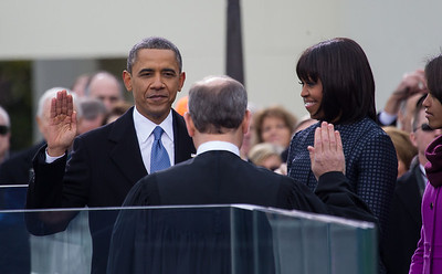 President Barack Obama takes his oath of office from Supreme Court Chief Justice John Roberts