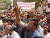Former Military Ministry employees demand wages in Baghdad, Iraq. Many former government employees have been left jobless since the US occupation of the country.(Australfoto/Douglas Engle)