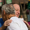 Giving a hug at the Farmer's Market in Boulder, Colorado.