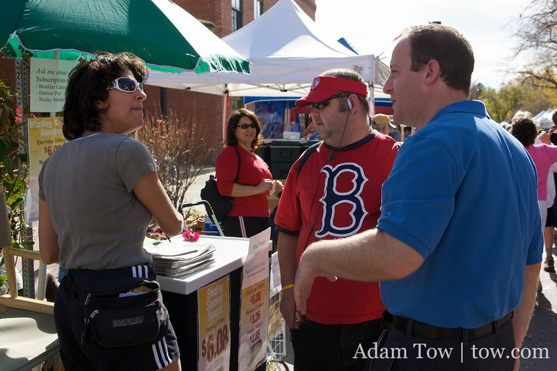 Speaking with supporters at the Farmer's Market in Boulder, Colorado.