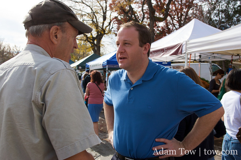 Talking with a supporter at the Farmer's Market in Boulder, Colorado.