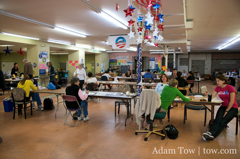 Panorama of the joint Obama/Udall/Polis campaign headquarters.