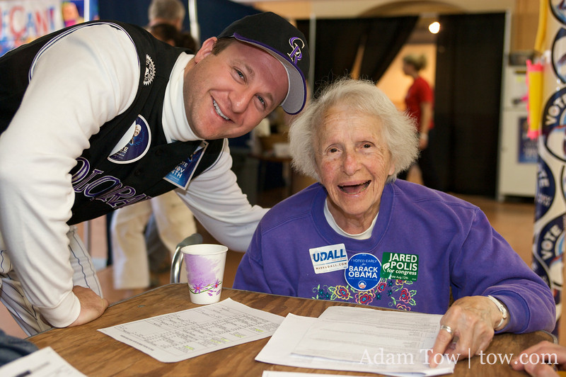 Jared with a 95-year old volunteer at the joint Obama/Udall/Polis campaign offices.