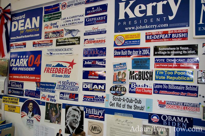 Campaign stickers.