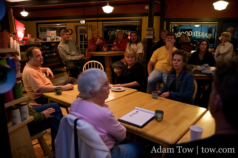 Jared speaks to another set of his prospective constituents at the Cannon Mine Coffee House in Lafayette, Colorado.
