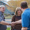 Jared shakes hands with volunteers outside a canvass center in Boulder, Colorado.