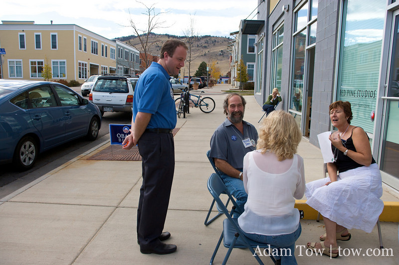 Jared speaks with volunteers outside a canvass center in Colorado.