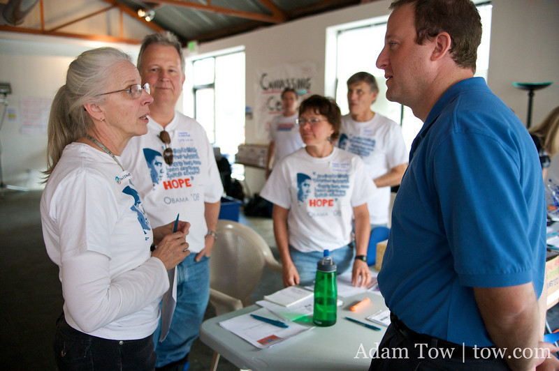 Speaking with canvass staff