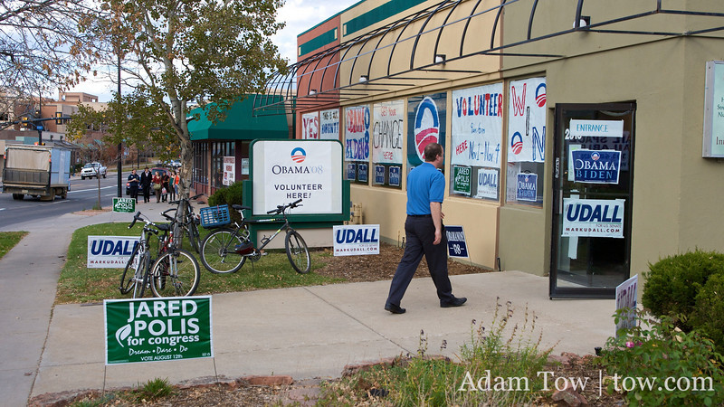 Jared walks into another canvass center in Boulder.